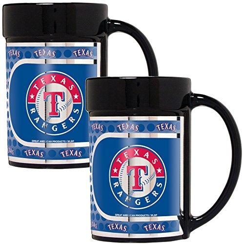 Coffee Rangers Mug (Great American Products MLB Texas Rangers Coffee Mug Set with Metallic Graphics (2-Piece), 15-Ounce, Black)