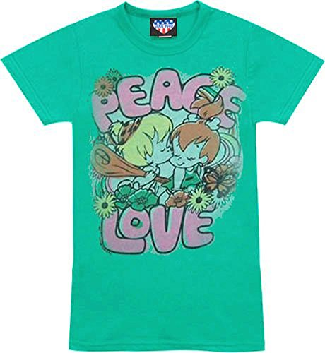 Flintstones Pebbles Bam Bam Peace Love Apple Green Juniors/Ladies T-shirt Tee -