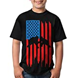 HUDS VIFV Wrestling American Flag Boys Crew Neck Short Sleeve T-Shirts Tees