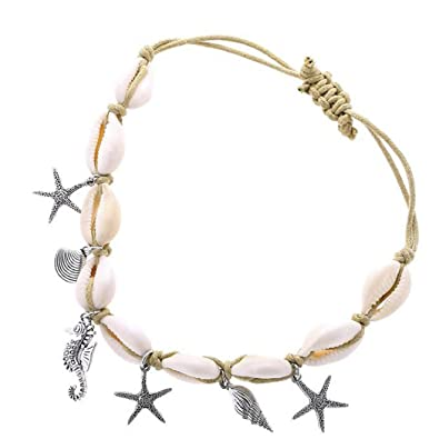 Aukmla Starfish Shell Anklet Beach Ankle Bracelet Foot Chain Barefoot Sandal Adjustable for Women and Girls