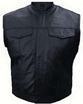 Anarchy Of Veste Sons Soa Poches Gilet Biker Type Poitrines Cuir wqqvpY7