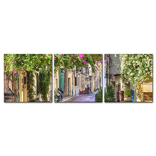Wall Art Decor Poster Painting On Canvas Print Pictures 3 Pieces Colorful Flowers Street Old Town Greek Island Greece Town Landscape Framed Picture for Home Decoration Living Room ()