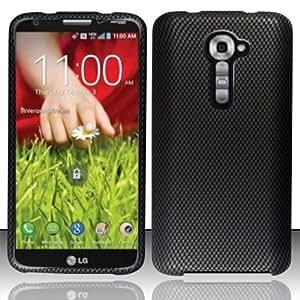 Carbon Fiber Design Cover Case + Atom LED Keychain Light for LG G2 VS980 (Verizon)