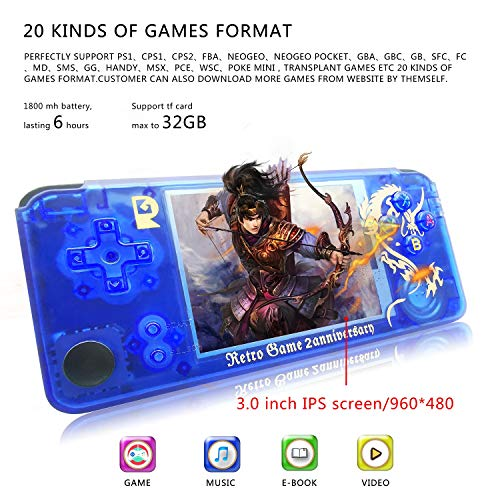 MJKJ Handheld Game Console , Retro Game Console OpenDingux Tony System , Free with 32G TF Card Built-in 3007 Classic Game Console 3 Inch HD Screen Portable Video Game Console - Transparent Blue