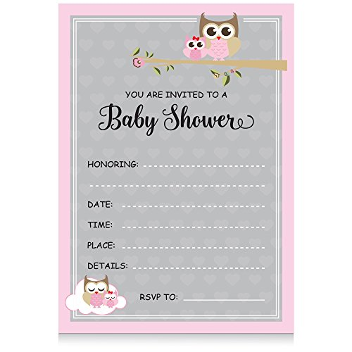 XOXOKristen Pink Baby Girl Shower Collection: OWL Baby Shower Fill in Invitations (25CT) with Envelopes, It's a Girl Baby Shower Party Invitations
