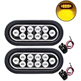 TMH (Pack of 2) 6 Inch 10 LED Clear Lens Oval Flush Mount Amber Stop Turn Signal Brake Marker Tail LED Light for Truck Trailer RV Bus 12V Rubber Grommet & Plug Included