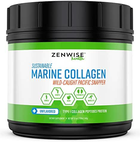 Marine Collagen Peptides Powder - with 11g Type I Protein & Amino Acids - from Sustainable Wild Caught Pacific Fish Snapper - Provides Vital Joint & Bone + Muscle Support - Skin & Hair Health - 12 OZ