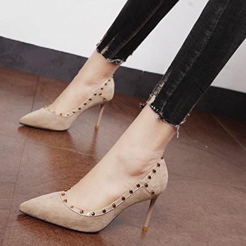 Xue Qiqi Court Schuhe Schuhe Schuhe Das schwarze Licht Düsenspitze der high-heel Schuhe Nieten satin einzelne Schuhe wilde Frau Tide  00bcc2