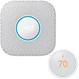 Nest Protect Wired Smoke and Carbon Monoxide Alarm 2nd Generation (White) S3000BWES with Nest T4000ES Learning Thermostat E
