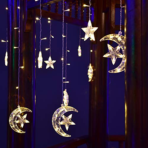 Hezbjiti Star Moon Curtain Lights, 138 LED Window Curtain String Light with 2 Control Ways(Plug in with Controller +1 Remove Control) Decoration Christmas Wedding,Party,Home,Patio Lawn (Warm White)