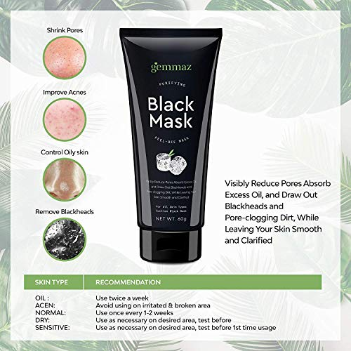 Black Mask Peel off Mask, Charcoal Purifying Blackhead Remover Mask Deep Cleansing for Acne & Acne Scars, Blemishes, Anti-Aging, Wrinkles, Organic Activated Charcoal by AsaVea (Image #5)
