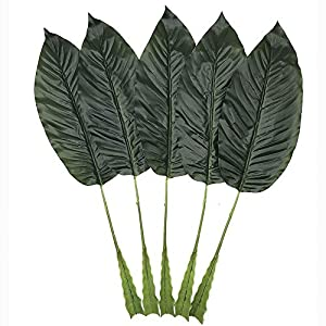 WDDH Fake Faux Artificial Tropical Leaves,Faux Palm Leaves Artificial Plant Leaves Green Banana Leaf Home Kitchen Party Decorations(5 Pack) 10