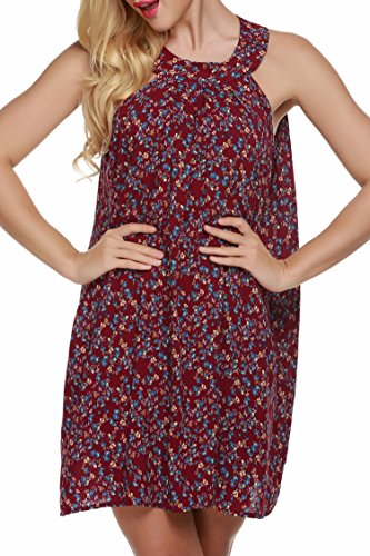 Swing Dark Mini Dress Red Sun Back Summer ACEVOG Sleeveless Beach Halter Neck Keyhole xYwCqA1