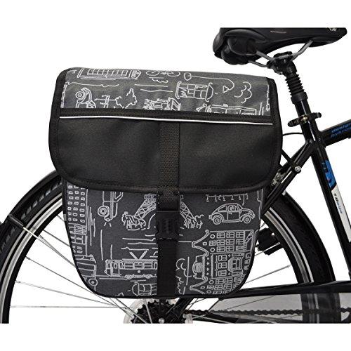 C-BAGS HEART single CITY Gepäckträger Fahrradtasche verschiedene Muster grey CcT9mlxVEY