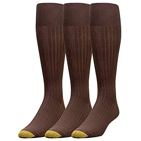 Gold Toe Men's Canterbury Over-the-Calf Dress Socks (Three-Pack),Brown,10-13 (Shoe Size 6-12.5) - Over Calf Support