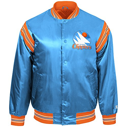 STARTER NBA San Diego Clippers Youth Boys The Enforcer Retro Satin Jacket, Small, Blue (Retro Sports San Diego)