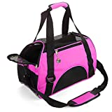 MisteSun Cat Carrier,Soft-Sided Pet Travel Carrier for Small Cats,Dogs Puppy Comfort Portable Foldable Pet Bag Airline Approved Pink(S:15.7