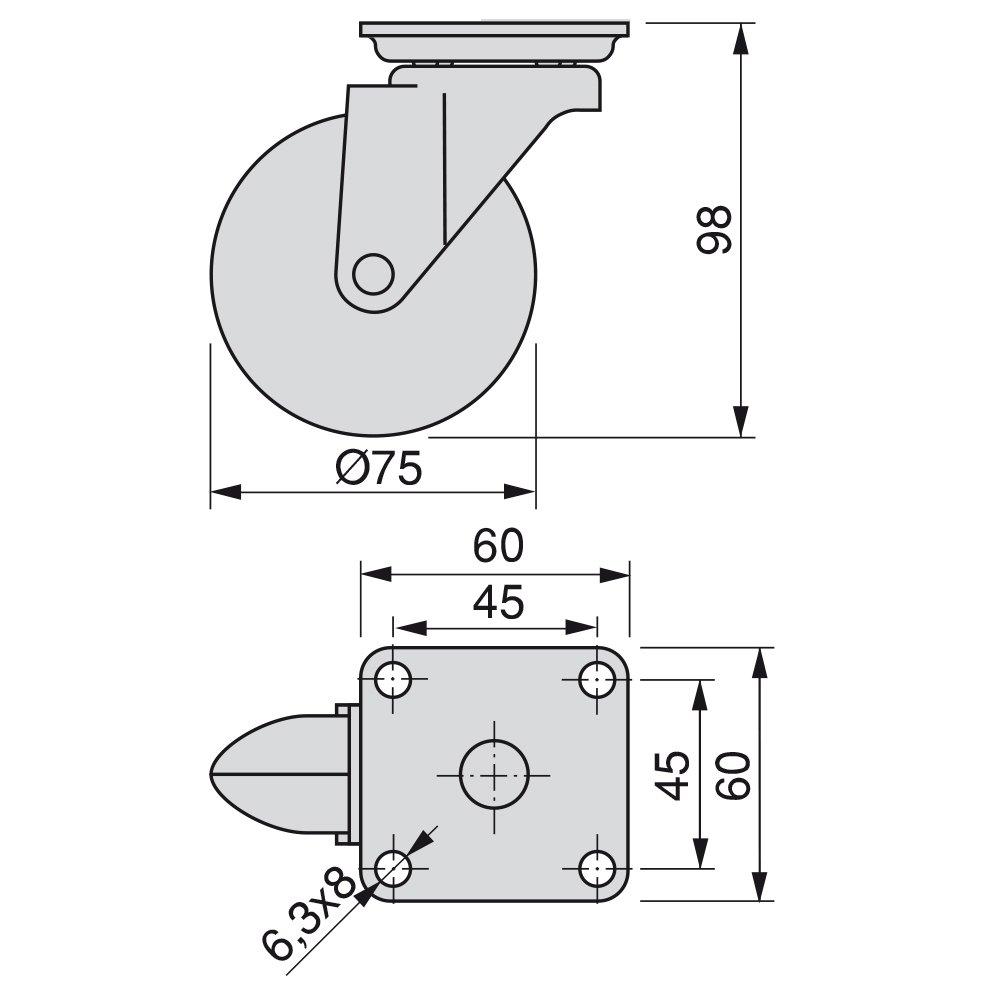 Dekorative Lenkrollen f/ür M/öbel 2 ohne Bremse Diameter 50mm mit Anschraubplatte und Kugellager Emuca 2036964 Set 4 STK