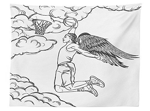 vipsung Sports Decor Tablecloth Winged Basketball Professional Player Jumping High up to the Basket Dining Room Kitchen Rectangular Table Cover