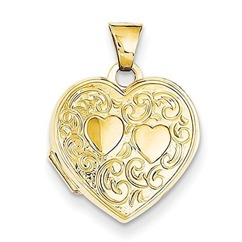 14k Solid Yellow Gold Heart Locket 3/4 Inch X 3/4 Inch by PicturesOnGold.com