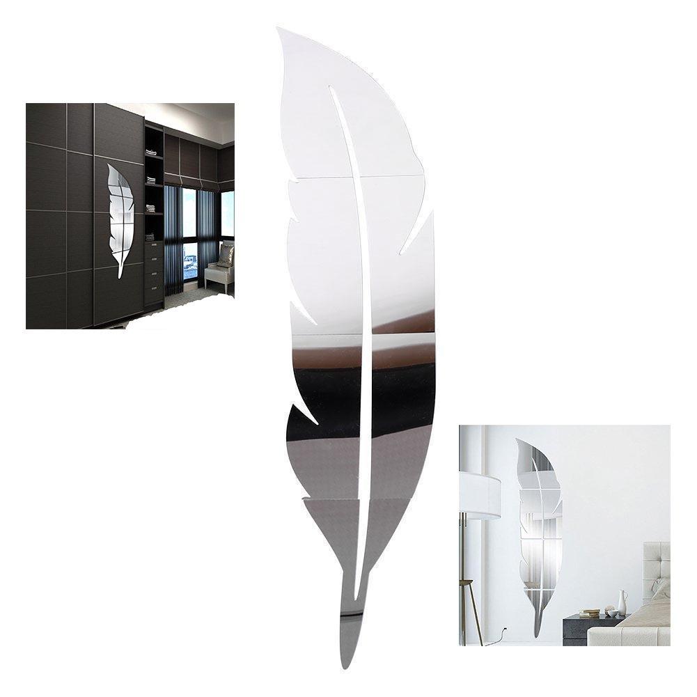 Xrten 3D Decorazione Piuma Specchio,Acrilico Specchio Adesivo Piuma Argento Removibile Bagno della Stanza Decorato per La Casa