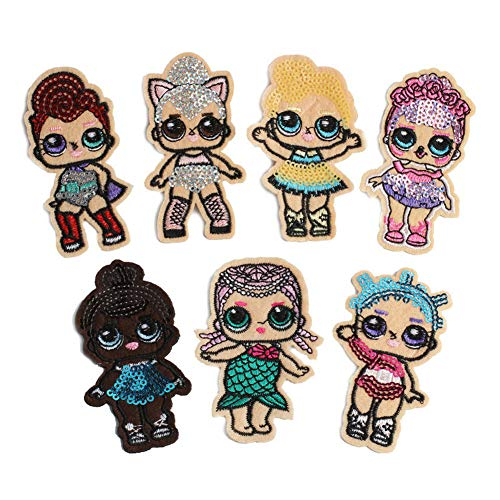 (7 Pcs Cartoon Surprise Doll Cute Girl Mermaid Applique Embroidered Patches for Clothes DIY Iron on Sequined Patch)