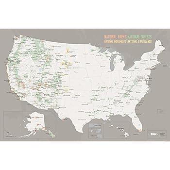 Amazoncom US National Parks Monuments Map X Poster Tan - Map of us national parks and monuments