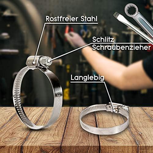 ALLNICE Collier de serrage /à oreille unique en acier inoxydable 304 r/églable pour tuyauterie automobile et alimentation en eau