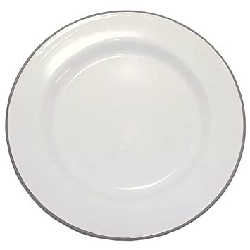 Enamelware 12 Inch Buffet Plate - Solid White with Grey Rim  sc 1 st  Amazon.com & Amazon.com | Enamelware 12 Inch Buffet Plate - Solid White with Grey ...