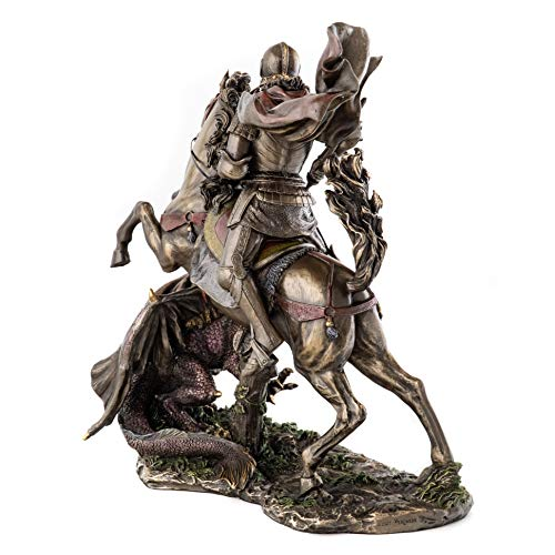 Top Collection St. George Slaying the Dragon Statue – St. George, Legendary Medieval Knight Sculpture in Cold-Cast Bronze with Color Accents – 10.5-Inch Medieval Figurine