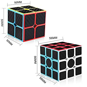 D-FantiX Carbon Fiber 2x2 3x3 Speed Cube Bundle Set, Magic Cube Puzzle Toys Kids