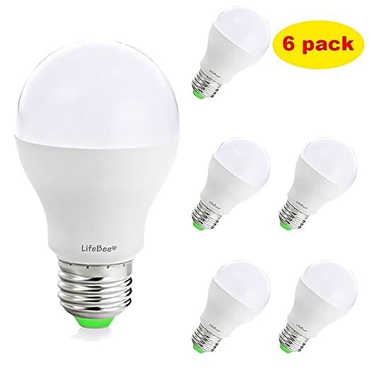 Lifebee Bombillas LED E27 7W [Pack de 6] Blanco Cálido 3000K LED Light Bulbs