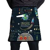 NTDCBDFY Universe Infographics Solar System Pockets Waist Apron Bartender Restaurant Casual Dining Venue Half Aprons