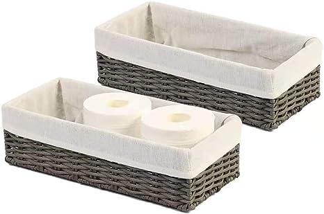 Amazon Com Hosroome Bathroom Storage Organizer Basket Bin Toilet Paper Basket Storage Basket For Toilet Tank Top Decorative Basket For Closet Bedroom Bathroom Entryway Office Set Of 2 Grey Kitchen Dining
