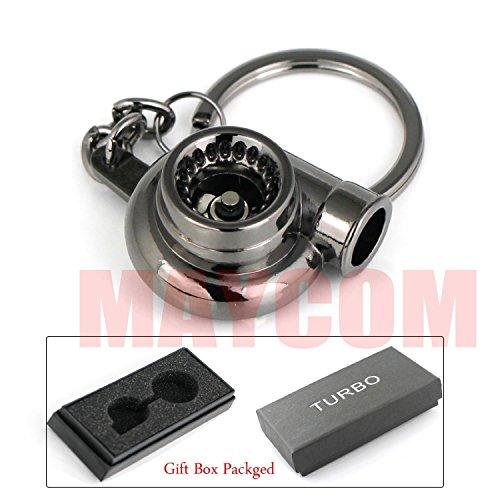 Turbo Impeller (Maycom Spinning Turbo Keychain Keyring Turbocharger Turbine Key Chain Ring Keyrings (Black))