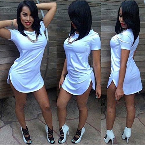 vestido raja camiseta manga Las lado corta de mujeres ocasional atractivas de partido del Culater del la tops Blanco mini wZH7qzzX