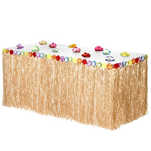 Hawaiian Luau Grass Table Skirt: BONUS 12 Hibiscus Flowers | Includes Adhesive | Perfect Beach, Tiki, Tropical, Island, Party, Luau Decoration 9ft -