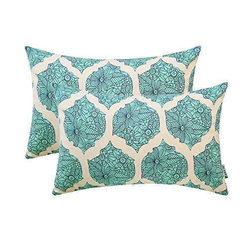 HWY 50 Rectangle Throw Pillows Covers Sets Cushion Cases for Couch Sofa Bed Soft Decorative Geometric Floral Aqua Print 12 x 20 inch Pack of 2 Pillowcases