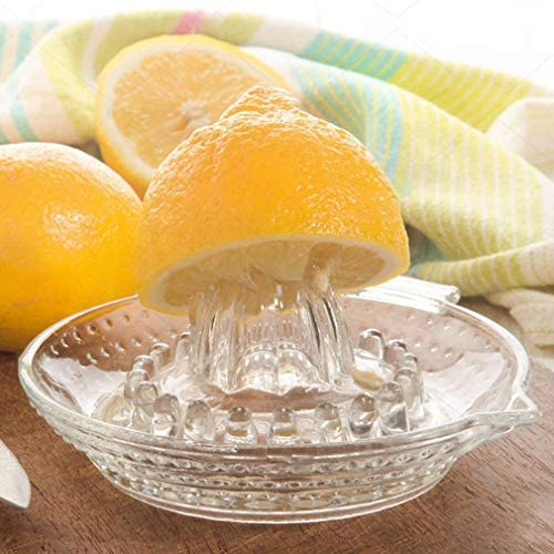 CandyTT Exprimidor Manual de Vidrio Exprimidor de Frutas cítricas Cocina Exprimidor de limón Naranja Lima Exprimidor de Frutas Máquina de Jugo Extractor de Frutas (Transparente)