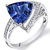 Peora 14K White Gold Trillion Concave Created Blue Sapphire Diamond Ring (5.15 cttw)