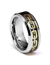 8mm Gold Tone Chain Link Inlay Men's Tungsten Wedding Band
