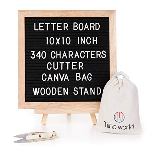 Felt Letter Board With Stand By Tiina World,  Set Includes 10x10 Inch Oak Frame, 340 White Letters, Symbols, Numbers, Characters, Emojis, Wooden Easel, Storage Bag, Bonus  Ebook