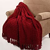 Home Soft Things BOON Cable Knitted Throw Couch Cover Blanket, 50' x 60', Burgundy