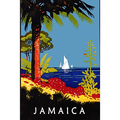 Vintage Child At Sunny Beach With Travel Suitcase Stock: Jamaica Poster: Amazon.com