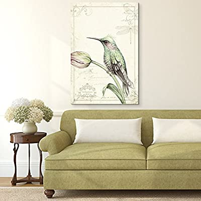 Vintage Style Bird on Floral Background, Classic Artwork, Grand Creative Design