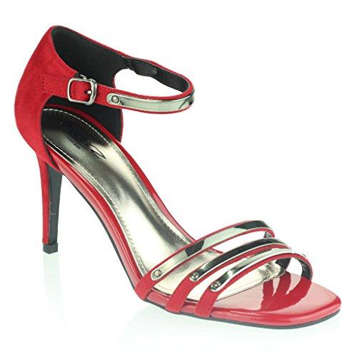 Frau Damen Abend Hochzeit Party Abschlussball Platz Offener Zeh Mitten High Heel Sandalen Schuhe Größe Rot