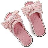 Women's Cozy Memory Foam Plush Gridding Velvet Lining Spa Thong Flip Flops Clog Style House Indoor Slippers (Medium / 7-8 B(M) US,Pink)