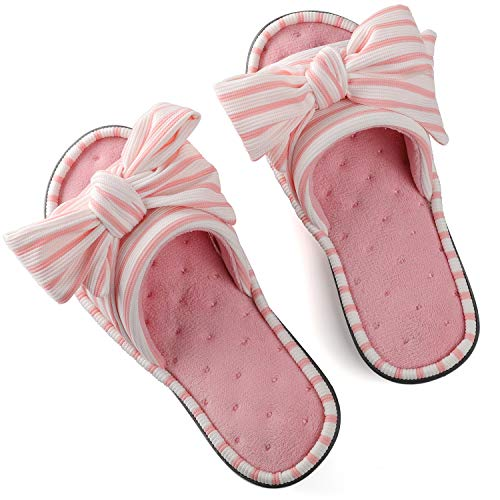 - Women's Cozy Memory Foam Plush Gridding Velvet Lining Spa Thong Flip Flops Clog Style House Indoor Slippers (Small / 5-6 B(M) US, Pink)