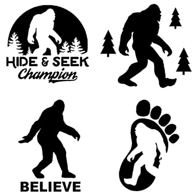 Sasquatch, Bigfoot, Hide and Seek Champion Decals (Black): Home & Kitchen