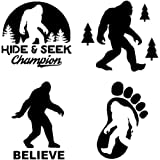 Sasquatch, Bigfoot, Hide and Seek Champion Decals (Black)